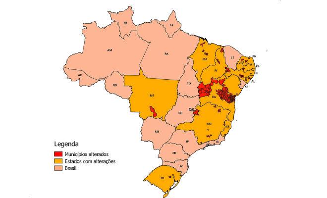 mapa do brasil com mudancas territoriais em municipios