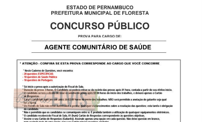 prova agente comunitario de saude concurso publico de floresta pernambuco